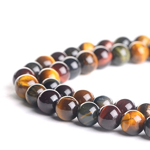 Mix Gemstone Round Bead - Natural 6mm Colorful Mix Color Tiger Eye Gemstone Loose Beads Polished Round Crystal Quartz Energy Healing Power Stone Beads For Jewelry Making&DIY