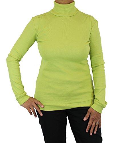 Ladies Supersoft Long Sleeve Top Turtleneck (Medium, Lime) by Maks