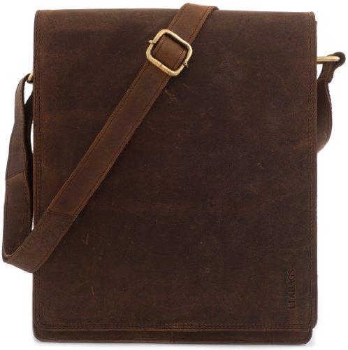 (LEABAGS London messenger bag shoulder bag for 13 inch laptop of genuine leather in vintage style - Muskat)