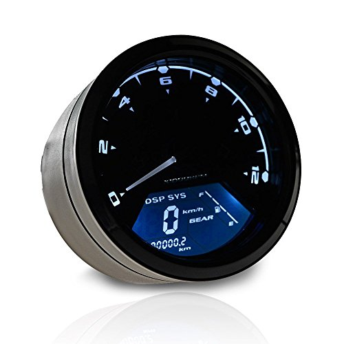 12000 RPM 199 km/h MPH Blue LED Backlit Digital LCD Motorcycle Indicator Speedometer Odometer Tachometer (Honda Shadow Speedometer compare prices)