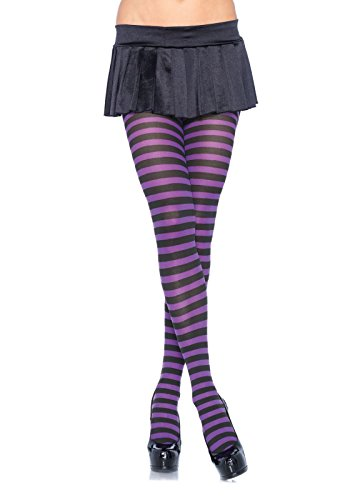 [Leg Avenue Women's Nylon Striped Tights, Black/Purple, One Size] (Used Plus Size Halloween Costumes)