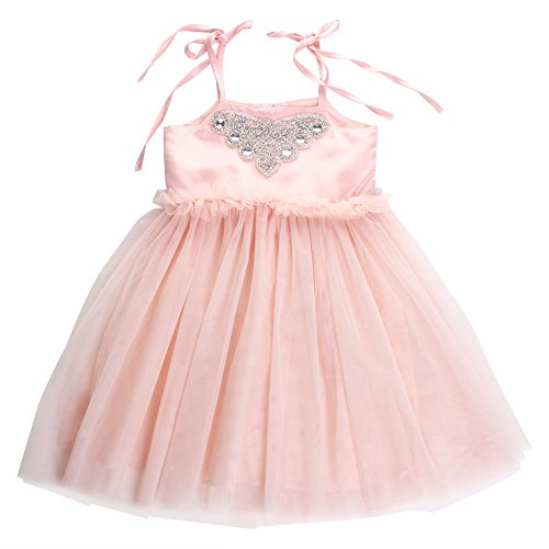 2016 Fancy Baby Girls Sequins Flower Lace Tulle Sleeveless Party Dress Gown Dresses (5-6 Years) (Toddler Fancy Dress)