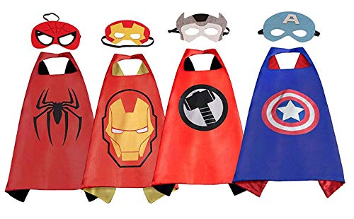 Superhero Dress up Costumes - 4 Satin Capes and 4 Felt Masks for Kids Boys