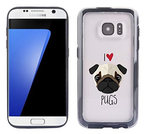OptiCase - Clear Transparent Designer Hybrid Case for Galaxy S7 -I Love Pugs Cute Pug Face Pet Pup Lovers Unique Designer Trendy Case
