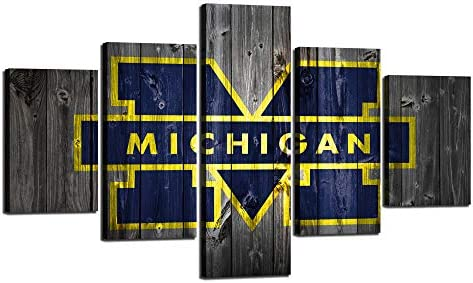 Michigan Wolverines Football Wall Decor Art Paintings 5 Piece Canvas Picture Artwork Living Room Prints Poster Decoration Wooden Framed Ready to Hang 70″ W x 40″ H