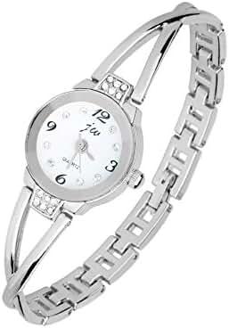 Docomo Pretty Woman Girls Elegant Quartz Wrist Watch,Rainproof Crystal Case for Ladies Dress(Silver)