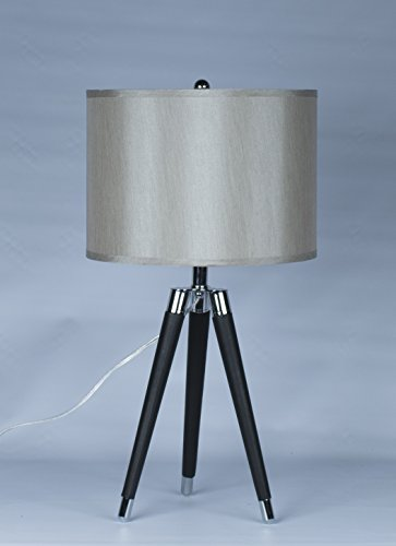 Black Leather Lamp (Urbanest Black Mid Century Modern Tripod Leather & Chrome Table Lamp with 14-inch Champagne Drum Shade)