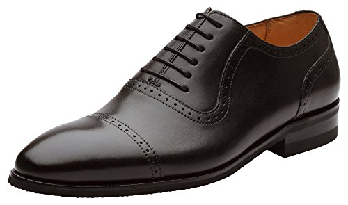 Dapper Shoes Co. Handcrafted Genuine Leather Men's Classic Plain Toe Cap Oxford Leather Lined Perforated Dress Oxfords Shoes US 11-11.5 Black