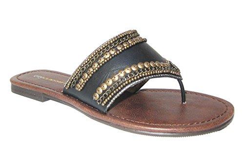 Vania-s Femmes Flats Perles De Cuivre Flip, Tongs Tongs Pantoufle Noir