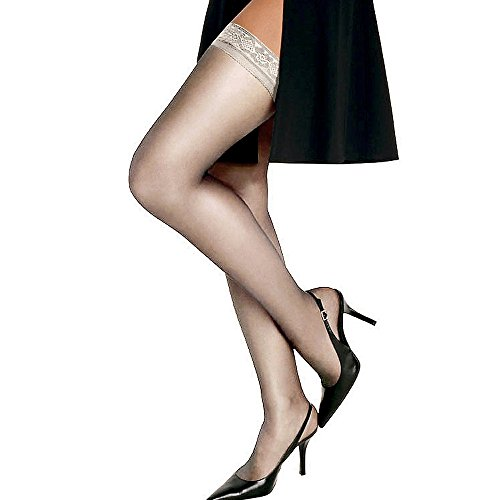 - Hanes Women`s Set of 3 Silk Reflections Silky Sheer Thigh High - Best-Seller! CD, Pearl