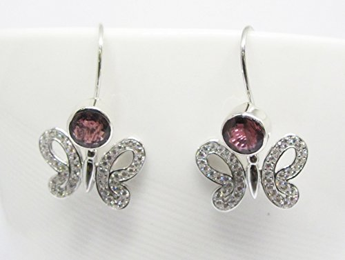 handmade 925 sterling silver dangle drop earrings with genuine red tourmaline and whit cz, butterfly microsetting style earrings, 5 mm tourmaline earrings, butterfly silver earrings