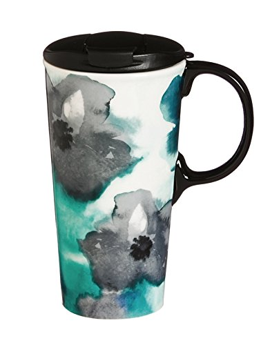 Cypress 3CTC5340 Watercolor Floral Ceramic Travel Mug, 17 oz, Blue