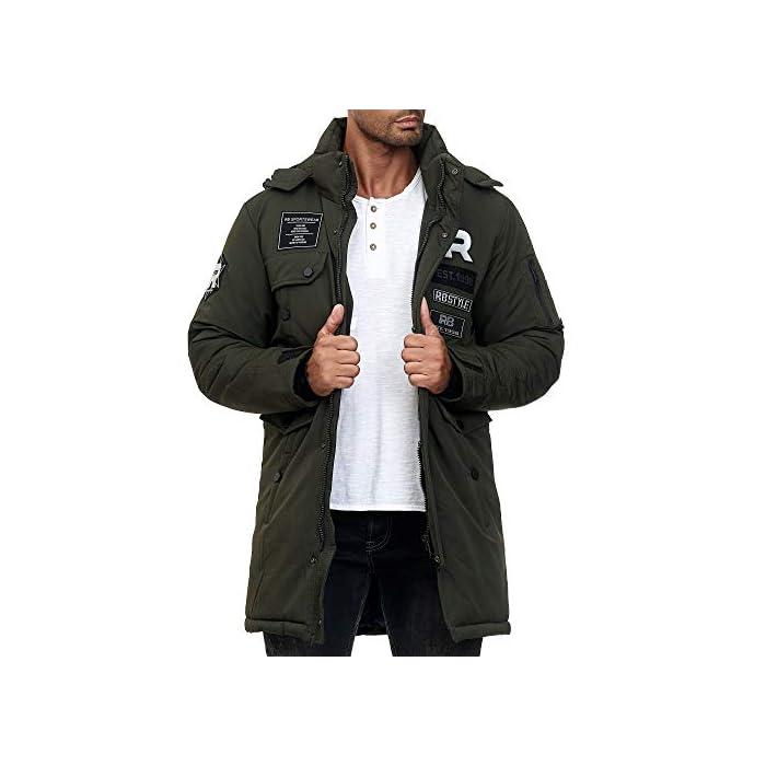 Abrigo   Parka de invierno para hombres de la marca Redbridge Chaqueta de invierno cálida y moderna con capucha extraíble y muchos bolsillos prácticos 100% Poliéster