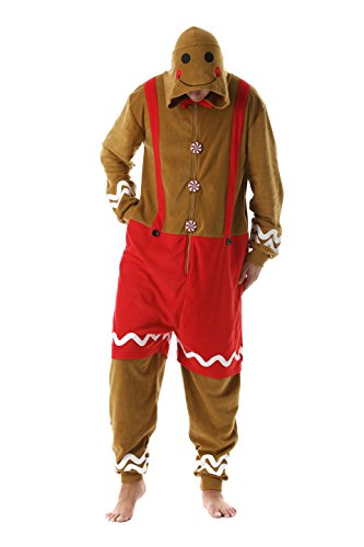 #FollowMe 6446-L Men's Adult Onesie/Mens Pajamas,Gingerbread Man,Large ()