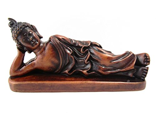 Blue Orchid Reclining Buddha Statue Sleeping Resting Figurine (Amber)