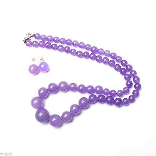 6-14mm Genuine Natural Lavender Jade Gemstone Beads Necklace Earrings Set - Lavender Jade Beads