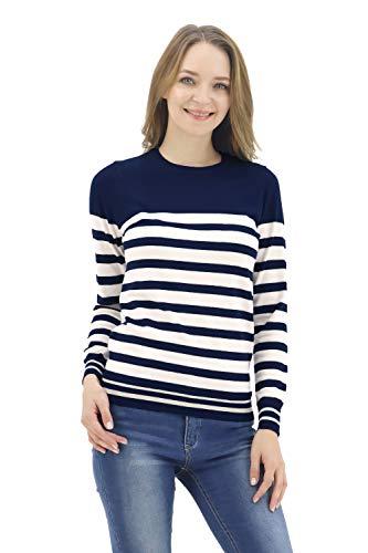 (BENANCY Women's Crewneck Striped Long Sleeve Soft Pullover Knit Sweater Tops PAGADI White XS)