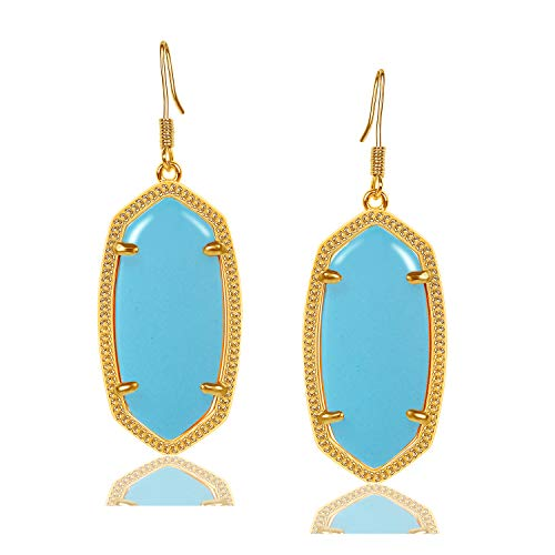 (Fashion Metal Oval Crystal Quartz Drop Dangle Earrings for Women (Gold(turquoise)))