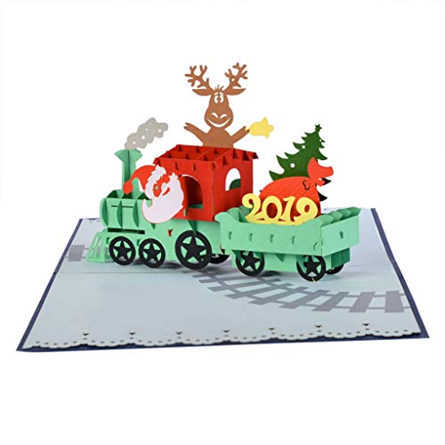 CUT POPUP Train Christmas and Happy New Year 3D Pop-up Greeting Card- Intricate Design, Ideal Writing Surface for Message, Good Choice for Family, Friends, Colleagues