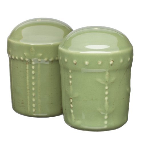 Signature Housewares Sorrento Collection Stoneware Salt and Pepper Shaker Set, Green Antiqued Finish Home Supply Maintenance Store