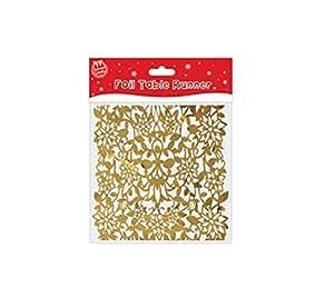 Saludos de temporada papel de camino de mesa 2m de Navidad vajilla–oro