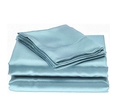 Bedify Bedding 100% Pure Silk Satin Sheet Set 7pcs, Silk Fitted Sheet 15'' Deep Pocket,Silk Flat Sheet,Silk Duvet Cover & Pillowcases Set !!! King, Sky Blue