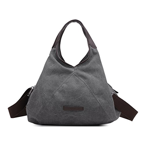 Multi Shoulder with Simple For Purse Strap Retro Zipper Canvas Ladies M Size Fashion Style Hobo Women Handbag Grey Pocket WLE Girls SfqUtwn