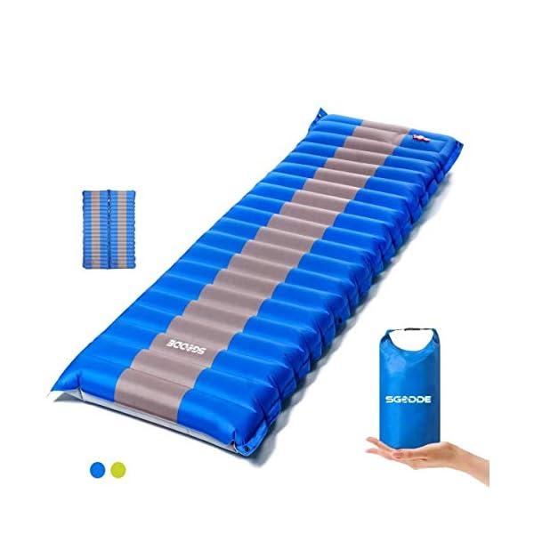 41KPPcNn2OL SGODDE Isomatte Camping Selbstaufblasbare,Handpresse Aufblasbare,leichte Rucksackmatte für Wanderungen zum Wandern auf…