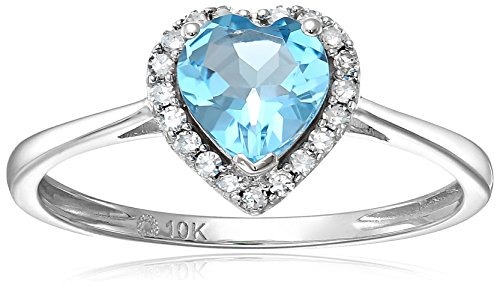 10k White Gold Swiss Blue Topaz And Diamond Solitaire Heart Halo Engagement Ring (1/10cttw, H-I Color, I1-I2 Clarity), Size 7 Blue Topaz Color Solitaire