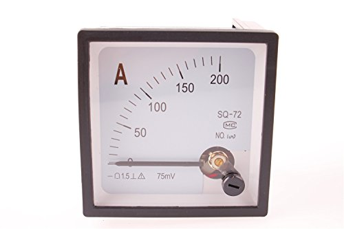GUWANJI DC 200A Square Panel Analog AMP Current Meter Ammeter 1Pcs Screw (Electrical Instrument Panel)