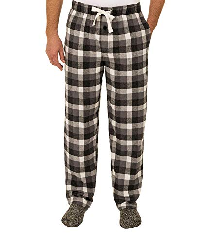 Fruit of the Loom Men's Yarn-dye Woven Flannel Pajama Pant (Large, Buffalo Grey Plaid)