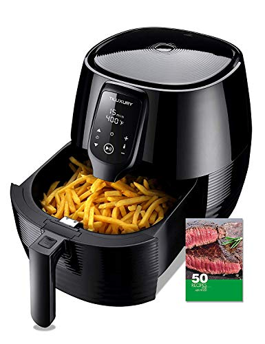 Air Fryer with Multi-Funtion Dual Dial Timer and Temperature Controls, Digital LED Touch Display,Detachable Basket,Easy to Clean by Dishwasher,Recipes Included