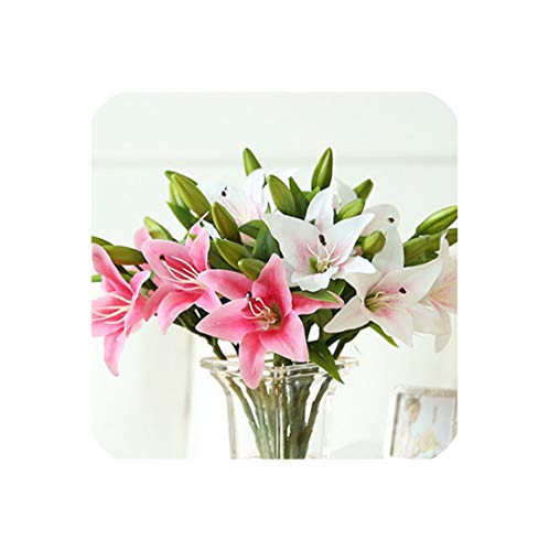 11Pcs 3 Heads Real Touch PVC Artificial Lily Decorative Flower Home Decorations Wedding Party Or Birthday,6Deeppink5Light Pink ()