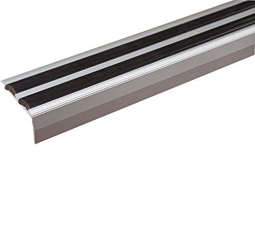 Trim Nosing - Cayrus Anodised Aluminium Anti Non Slip Stair Edge Nosing -Trim- 40 X 20Mm Anodised Silver with black ins...