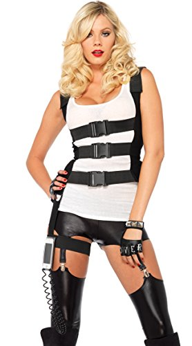 Leg Avenue Women's SWAT Body Harness with Garter Iphone Holder and Walkie Talkie Cord Costume Accessory, Black, -