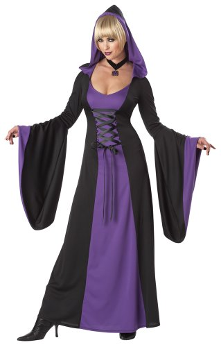 [California Costumes Women's Deluxe Hooded Robe Adult, Purple/Black, X-Small] (Purple Hooded Robe Adult Costumes)