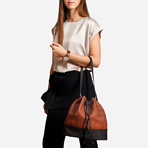 Women Red Crossbody Handbag Non Leather Corkor Bag Vegan Cork Bucket Shoulder for HBSpU