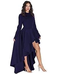 FORUU Women Short Sleeve High Low Peplum Dress Bodycon Casual Party Club  Dress 3dda3e9dd