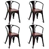 Costway Tolix Style Dining Chairs Industrial Metal Stackable Armrest Chairs Bistro Metal Wood Furniture, Set of 4 (Copper)