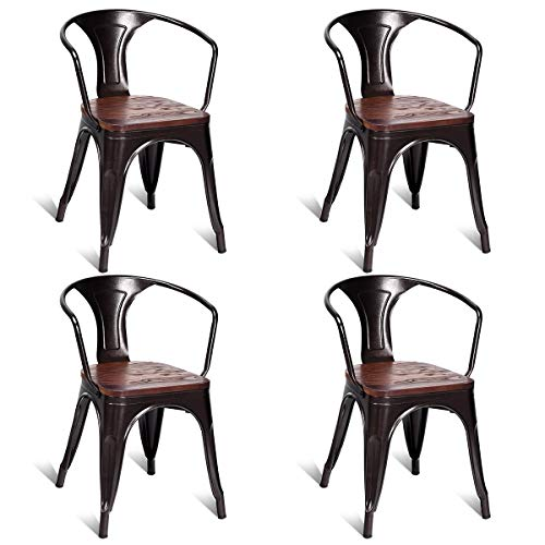 (Costway Tolix Style Dining Chairs Industrial Metal Stackable Armrest Chairs Bistro Metal Wood Furniture, Set of 4 (Copper))