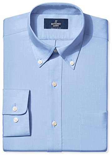 (BUTTONED DOWN Men's Classic Fit Button-Collar Non-Iron Dress Shirt (Pocket), Blue, 17