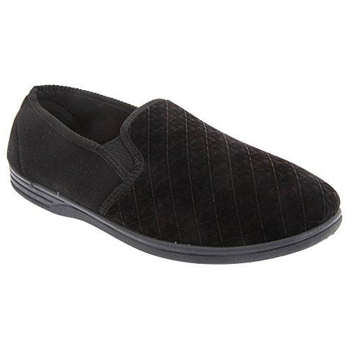 Velour Slippers Kevin Gusset Zedzzz Twin Mens Black UwE4nZq