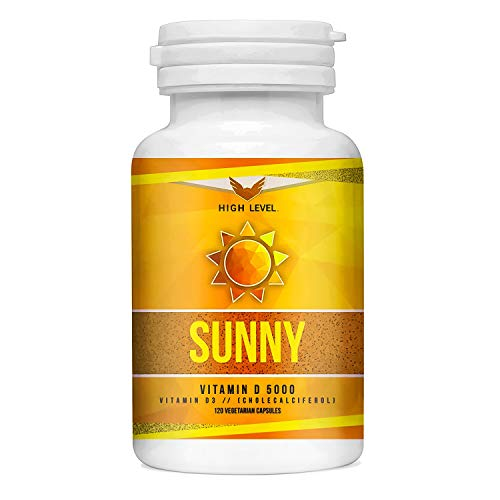 Vitamin D3 5000 IU | High Level Sunny | 120 Capsules | High Potency, Strong Bones + Teeth | Immune Boosting | Made in USA
