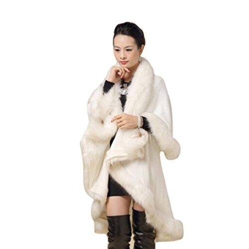 Fheaven Women's Faux Fur Collar Poncho Cape Stole Wrap Hoody Sweater Coat (White)