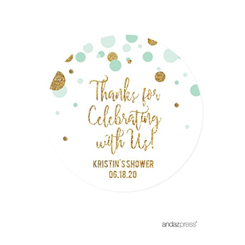 Round Baby Shower Labels (Andaz Press Mint Green Gold Glitter Boy Baby Shower Party Collection, Personalized Round Circle Label Stickers, Thank You for Celebrating With Us, 40-Pack, Custom Name)