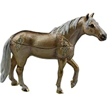 Brown and Gold Rhinestone Horse Tiny Treasure Figurine with Necklace