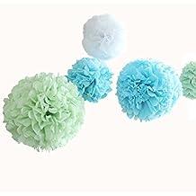 12pcs 8inch 12inch DIY Tissue Paper Flower Balls Pom Poms Bridal Shower Party Wedding Baby Shower Decorations Light Green Light Blue White