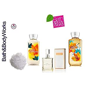 Bath and Body Works WILD HONEYSUCKLE Gift Set Eau de Toilette ~ Body Lotion ~ Shower Gel & Shower Sponge - Signature Collection