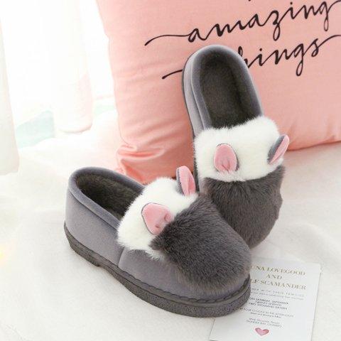 Inverno fankou spesse pantofole di cotone home soggiorno in camera pacchetto con tacco alto Cartoon carino caldo non-slip ,38-39, cucitura grigio con il pacchetto