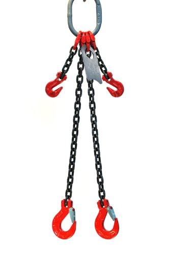 Chain Sling - 3/8'' x 6' Double Leg with Sling Hooks and Adjusters - Grade 80
